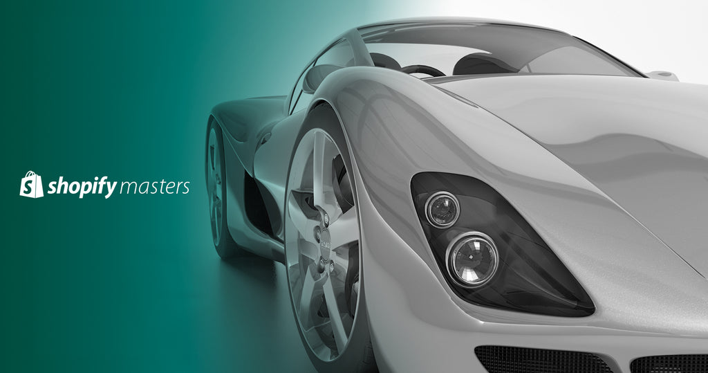 "A sports car against a green background with the words ""Shopify Masters"" displayed to its left."