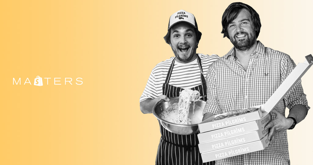 Founders of Pizza Pilgrims, James and Thom Elliot. James holding a bowl of cheese while Thom holds a pizza box.