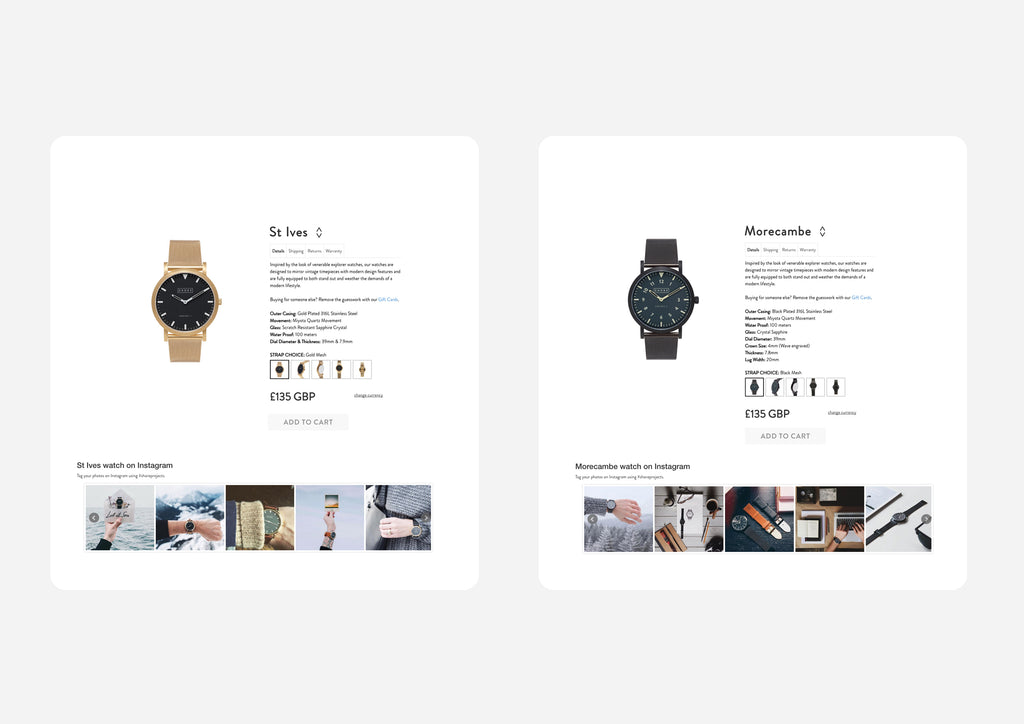 Screenshot of product page with Instagram embeded