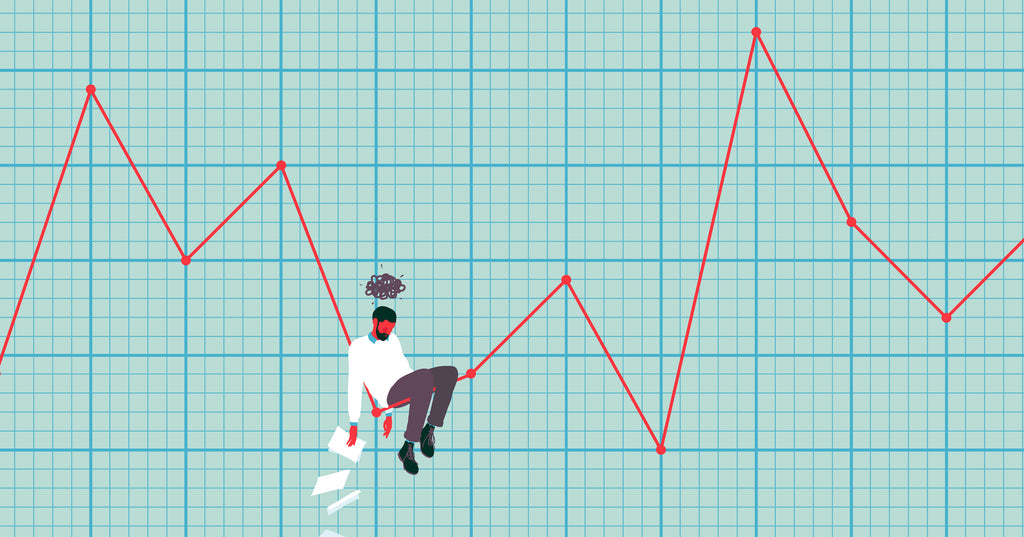 Illustration of a line graph depicting the ups and downs of entrepreneurship with a business owner sitting on it.
