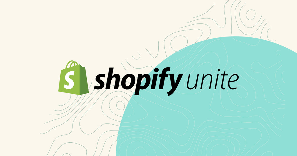 Graphic of Shopify Unite design on a blue and beige background.