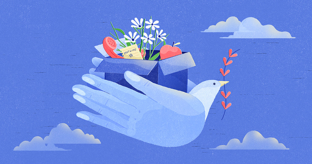Illustration of hands with a bird head holding flowers, a phone, and an apple, flying in the clouds