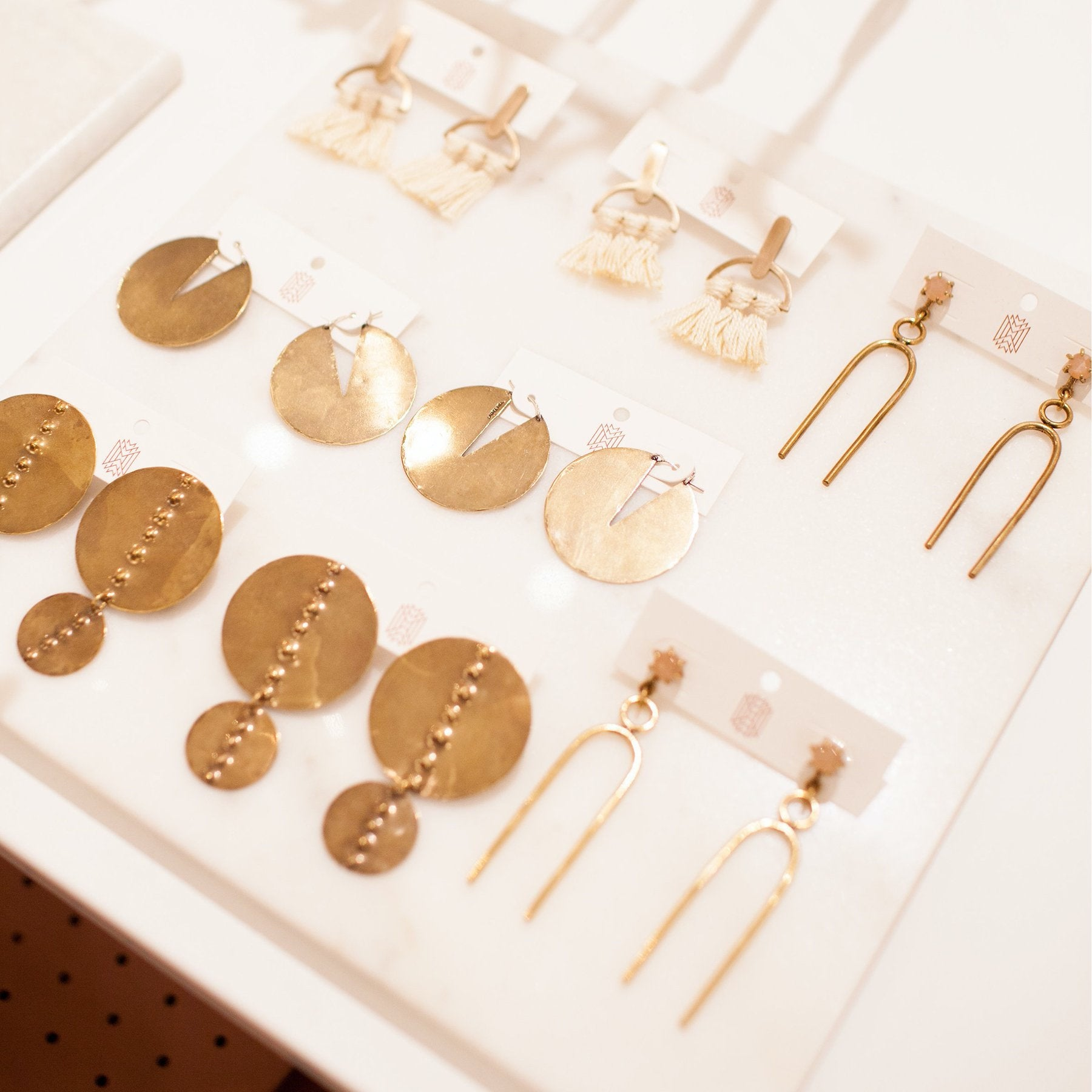 Gold jewelry arranged in a display