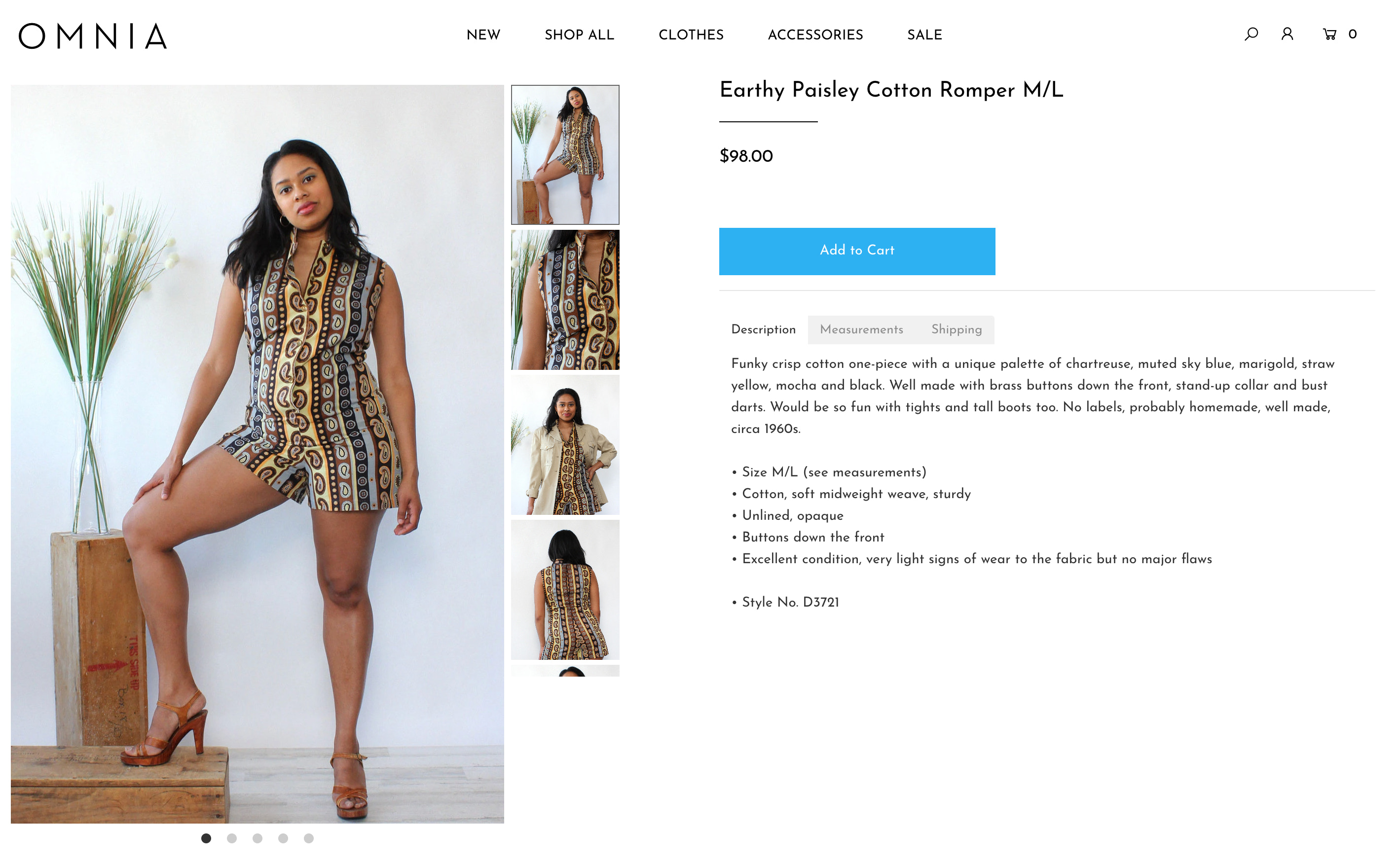 Example of a product page on OMNIA's website