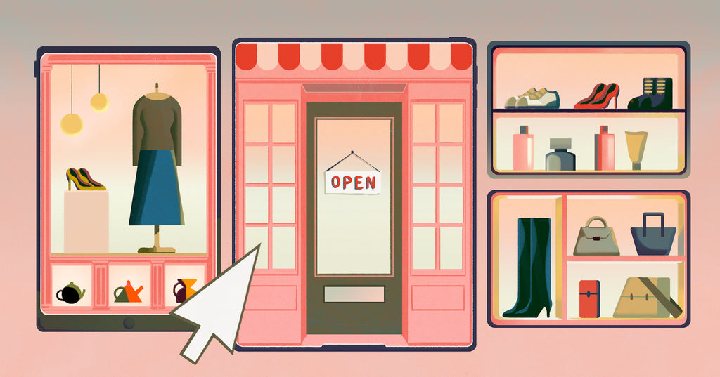 Illustration of a boutique retail shop front that has its window display as options to click in a web browser