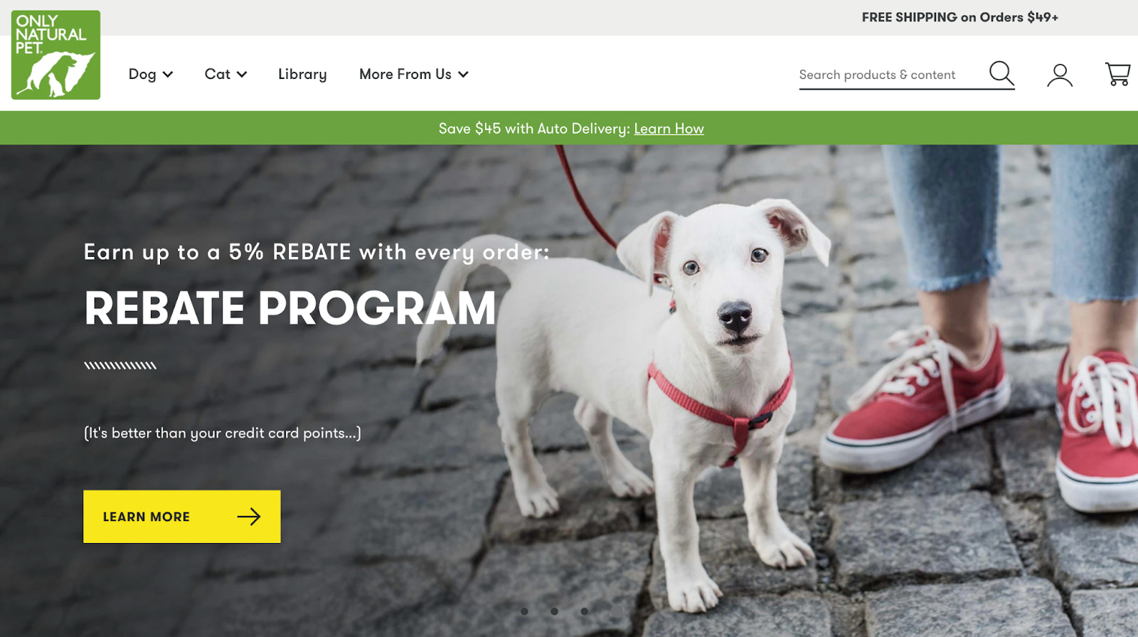 Only Natural Pet homepage