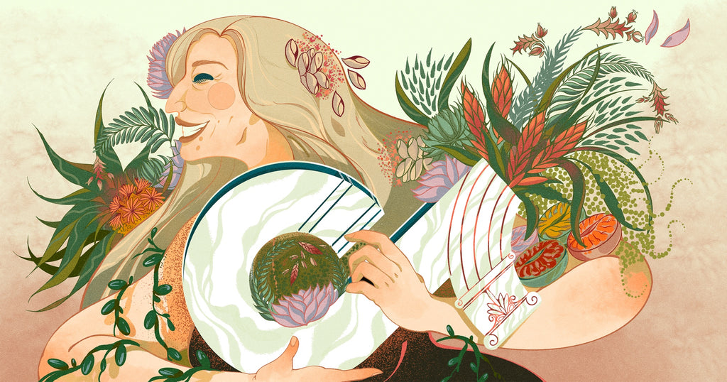 """Illustration by Islenia Mil depicting """"TikTok for business""""—a woman holds a vase shaped like the TikTok logo full of plants"""