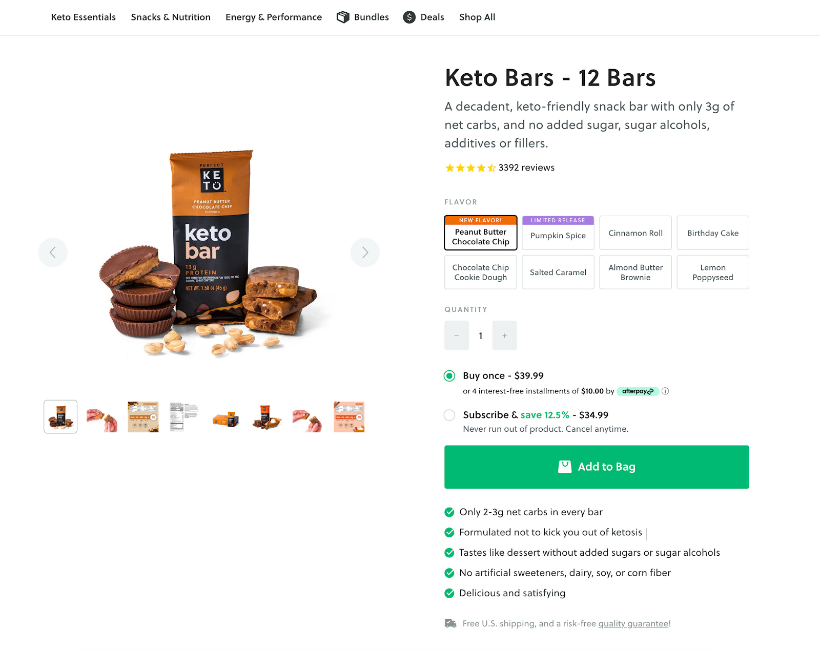 Perfect Keto product page
