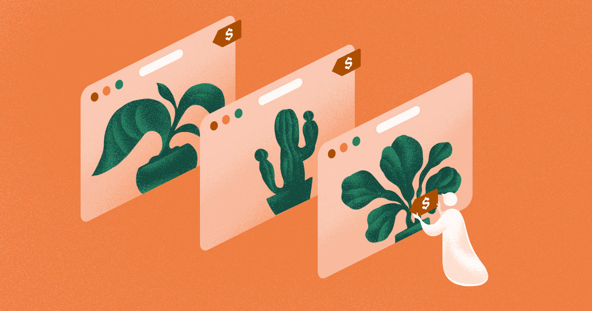 Illustration of a person arranging ecommerce elements on oversized browser windows featuring plants