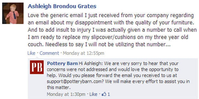 4 examples of excellent customer service on facebook 3 accept responsibility spiritdancerdesigns Image collections