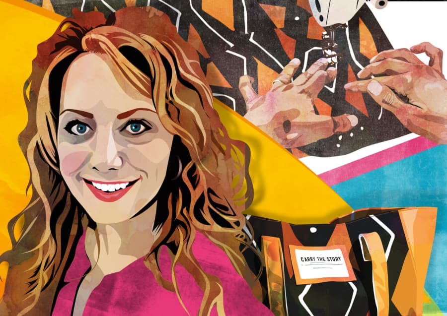 """Illustration of Rebecca Sandberg, founder of social change brand The Re:New Project. Behind her is a closeup image of hands sewing fabric and a bag that reads """"Carry the Story""""."""