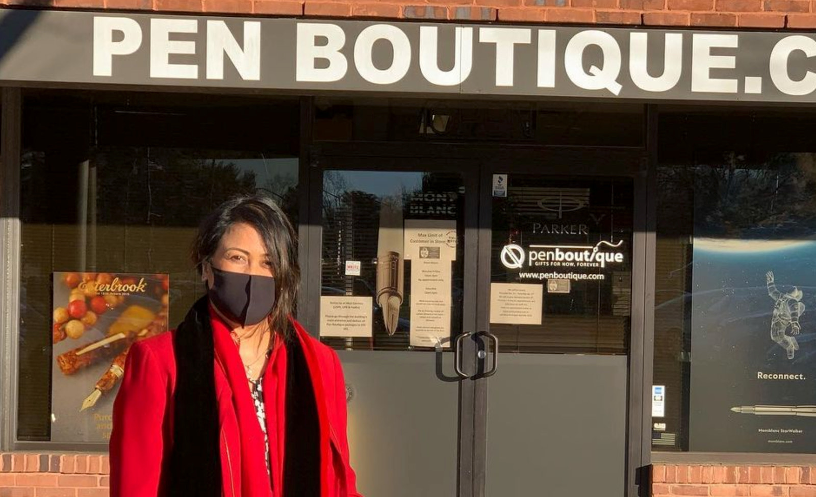 Leena outside of her business, Pen Boutique, in Columbia, Maryland.