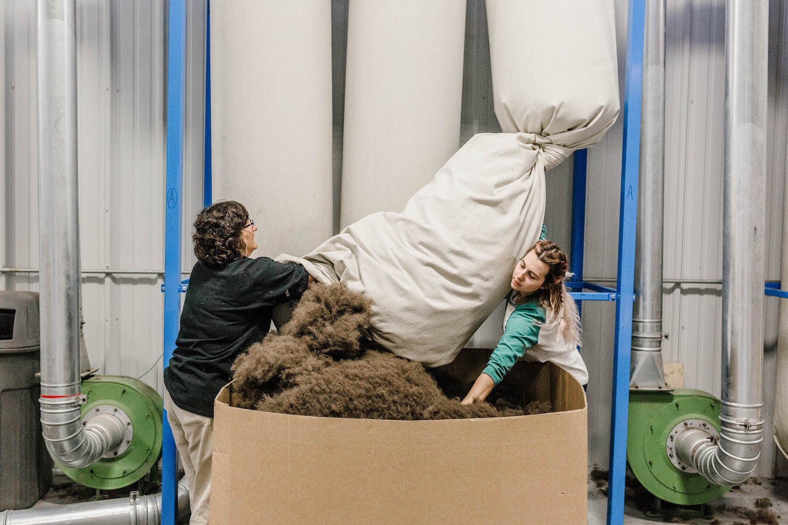 United By Blue employees harvest bison fiber to use as insulation in their apparel products.
