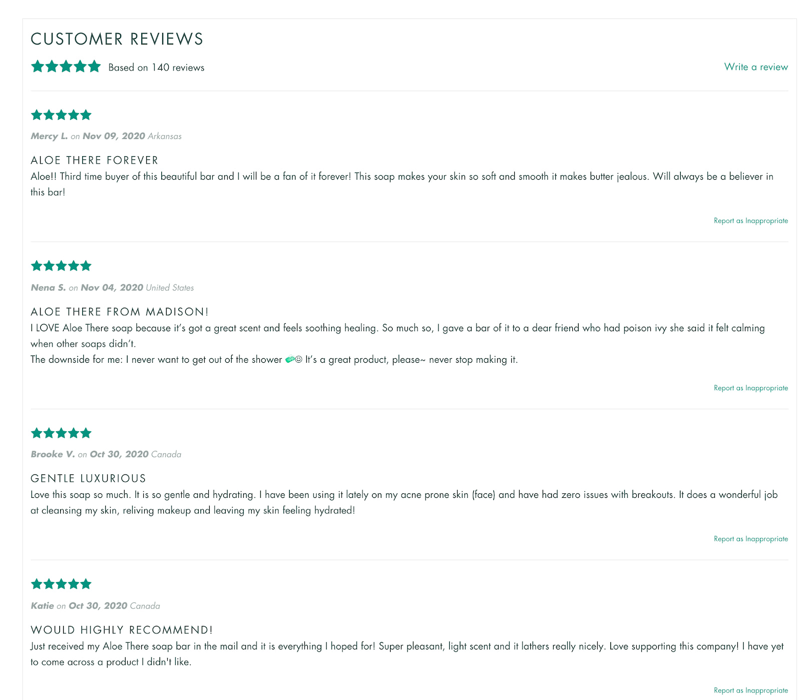 Customer reviews on Rocky Mountain Soap Product Page
