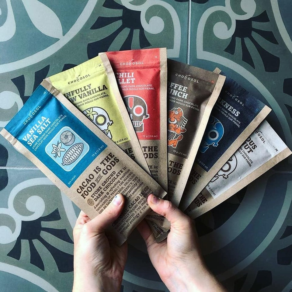 A selection of ChocoSol's chocolate, wrapped in biodegradable packaging.
