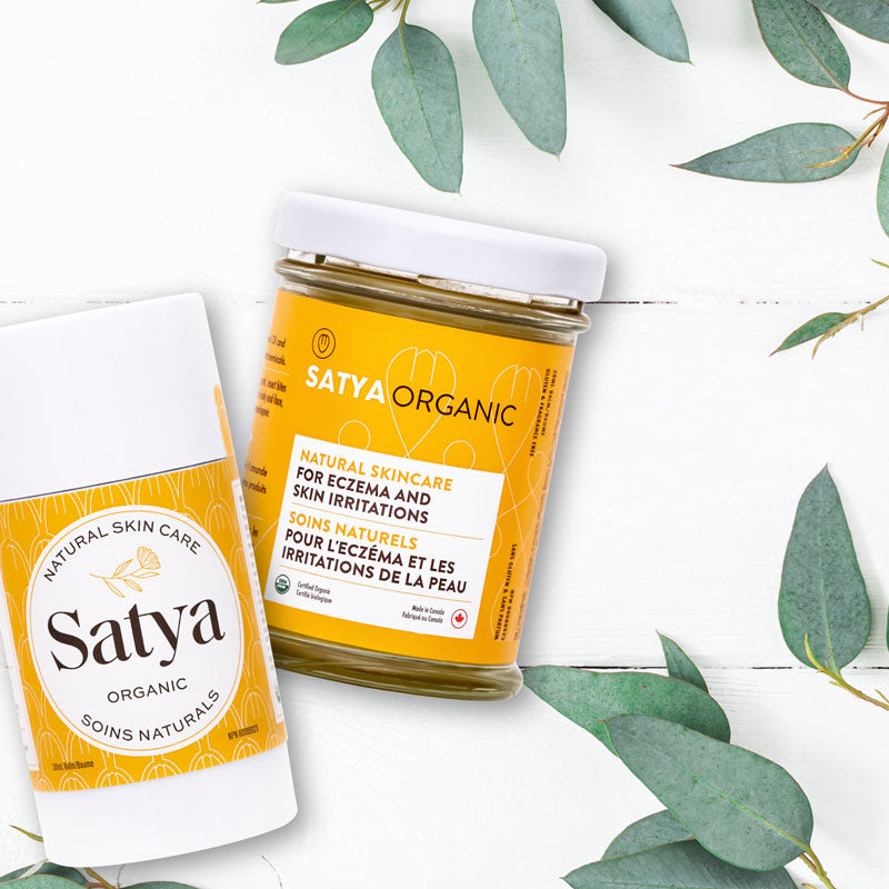 The jar and stick format of the Satya formula for eczema relief.