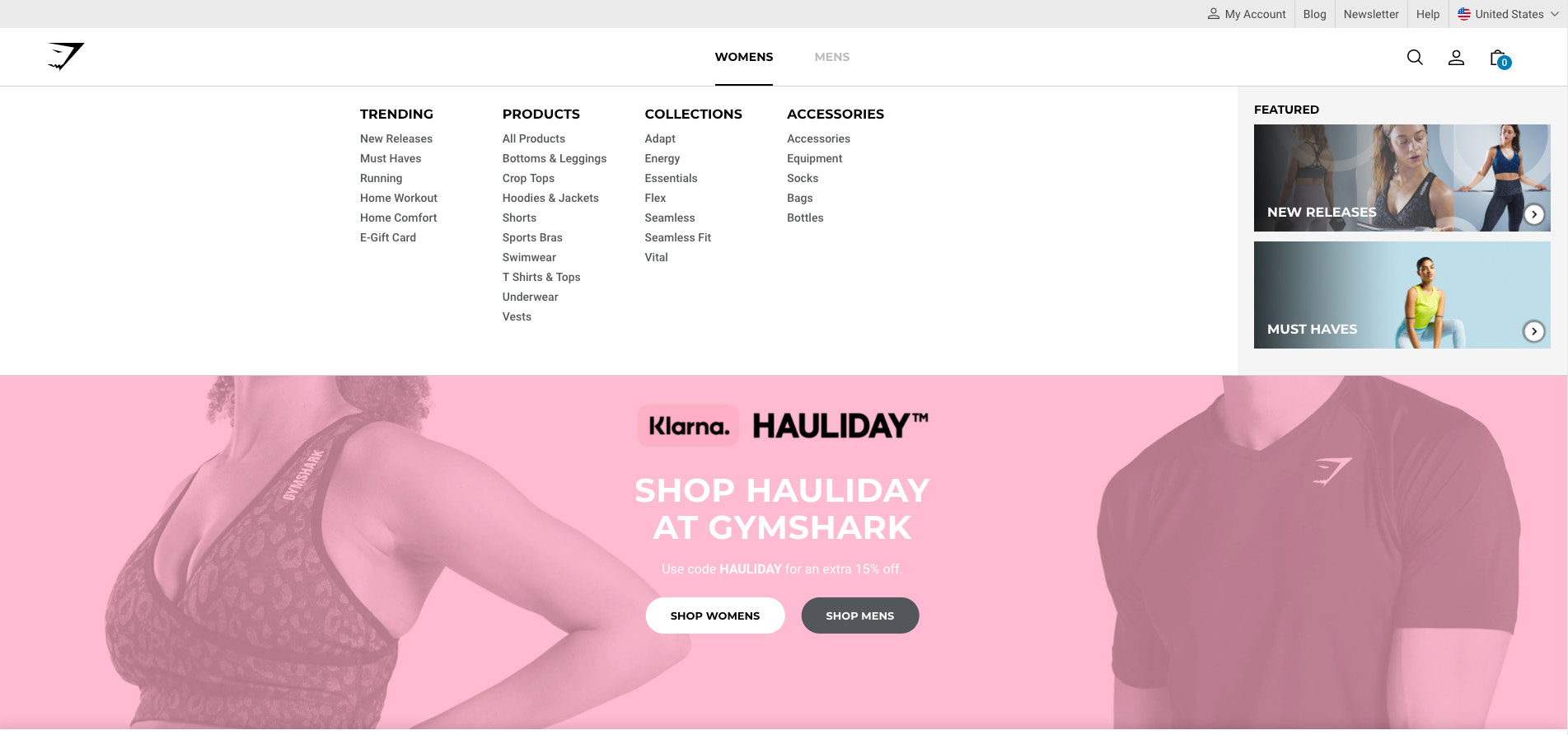 Image showing an example of good SEO within menu hierarchy which makes it easy for users to browse and search engines to crawl GymShark's website, respectively.