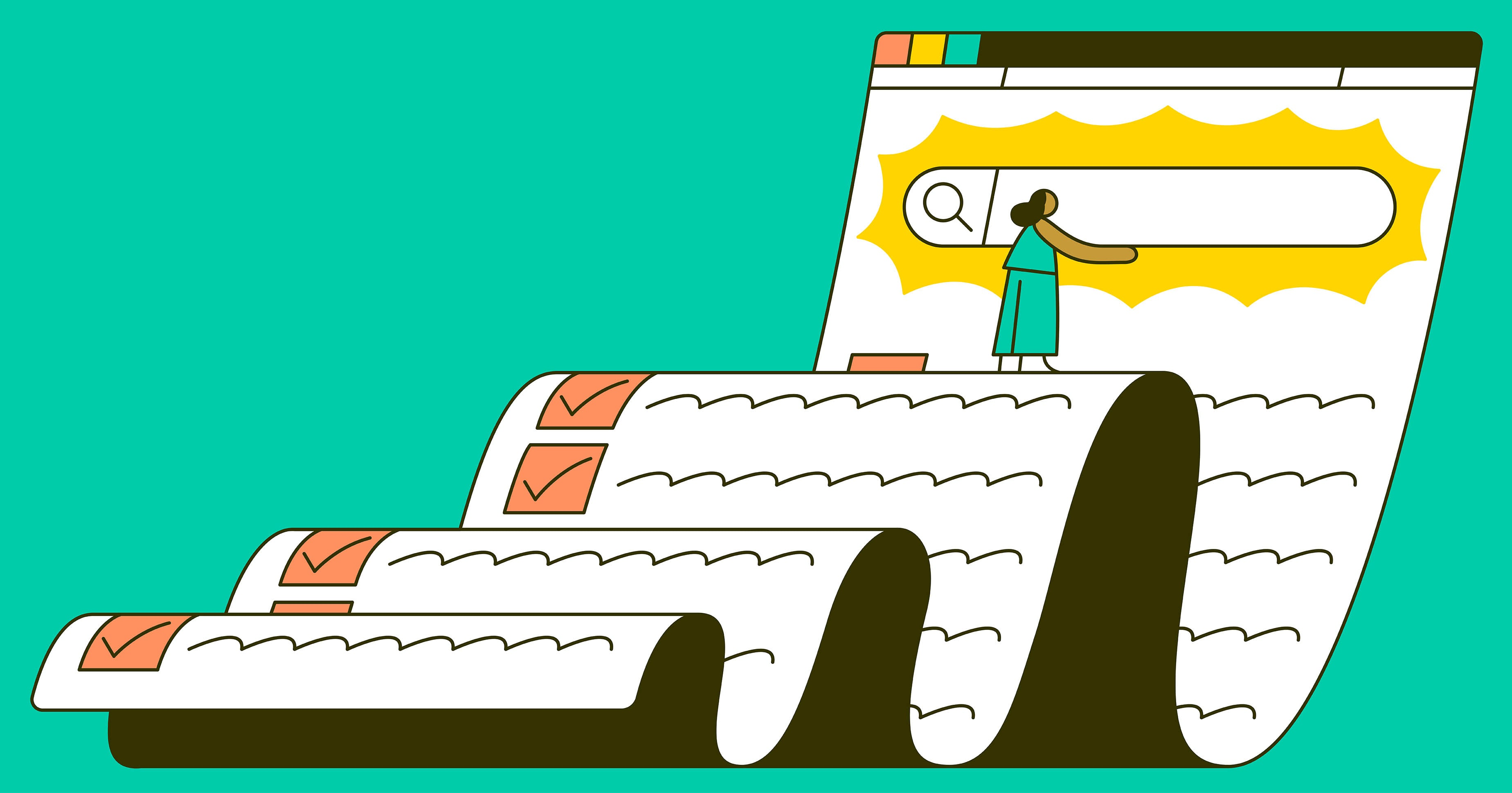 An illustration of a scroll like checklist full of SEO ideas to apply to your website to get it ranking