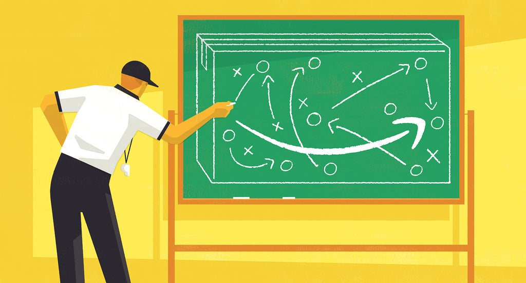 Illustration of a referee drawing an amazon logo on a chalkboard to show how to compete with Amazon