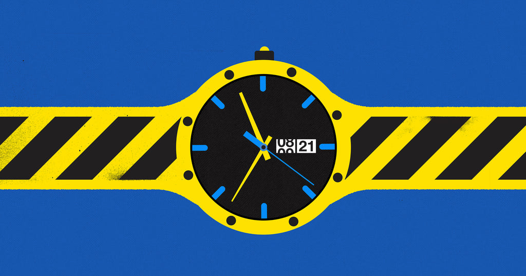 Illustration of a watch counting down the seconds on a coming on soon webpage to release the website