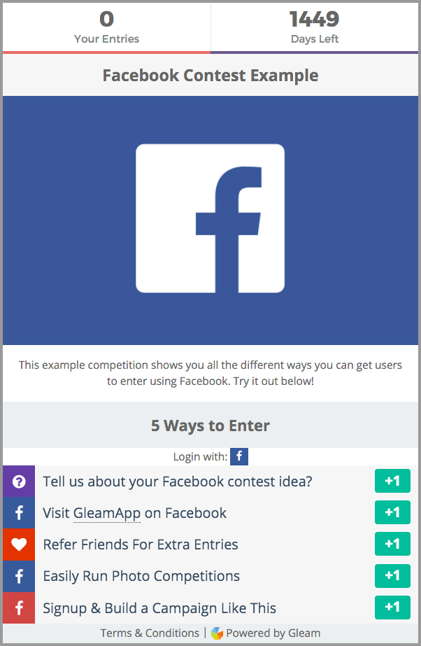 Facebook giveaway terms and conditions