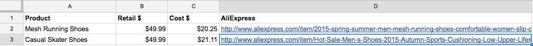 AliExpress seller Excel sheet