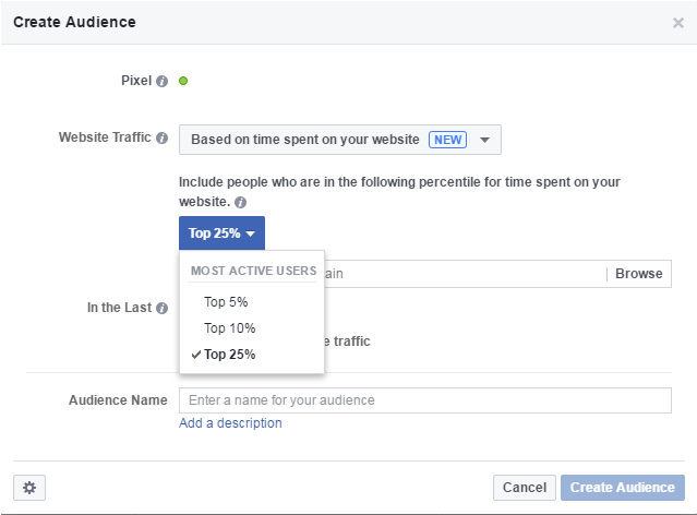 Screenshot of selecting time-on-site for a Website Custom Audience on Facebook