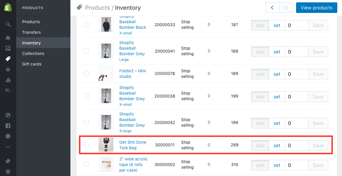 Shopify Inventory Screenshot