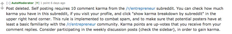 Reddit message indicating post deleted