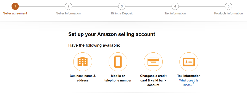 Screenshot of adding account details in Amazon
