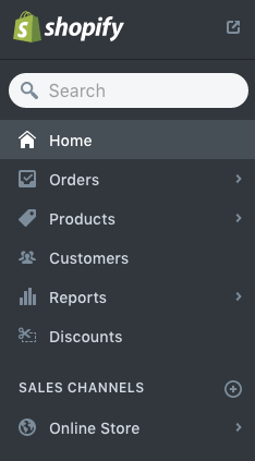 Screenshot of adding a sales channel in Shopify