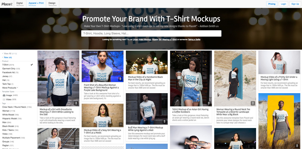 Place.it t-shirt templates and mockup generator