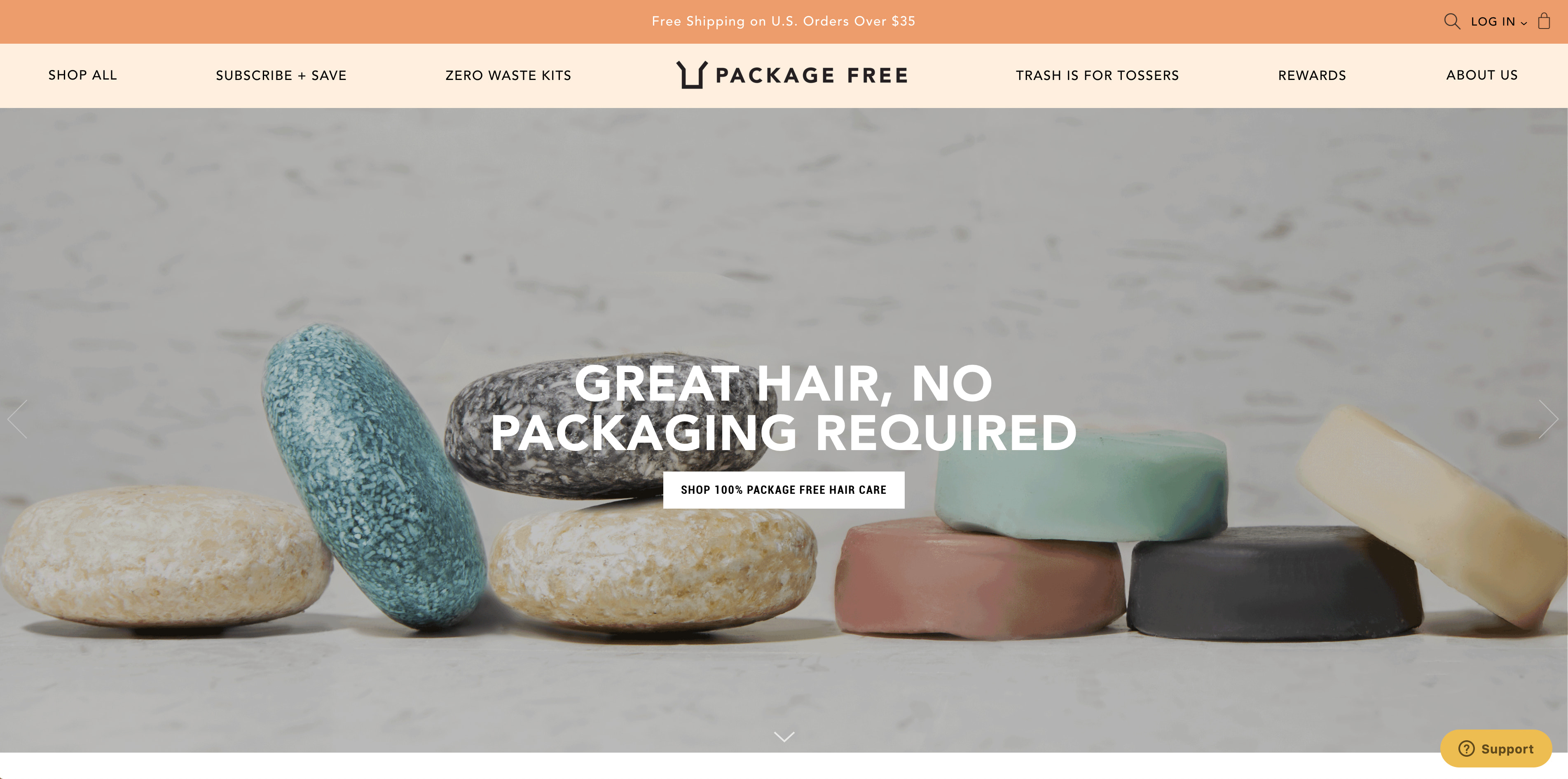 Screenshot of Package Free's online store.