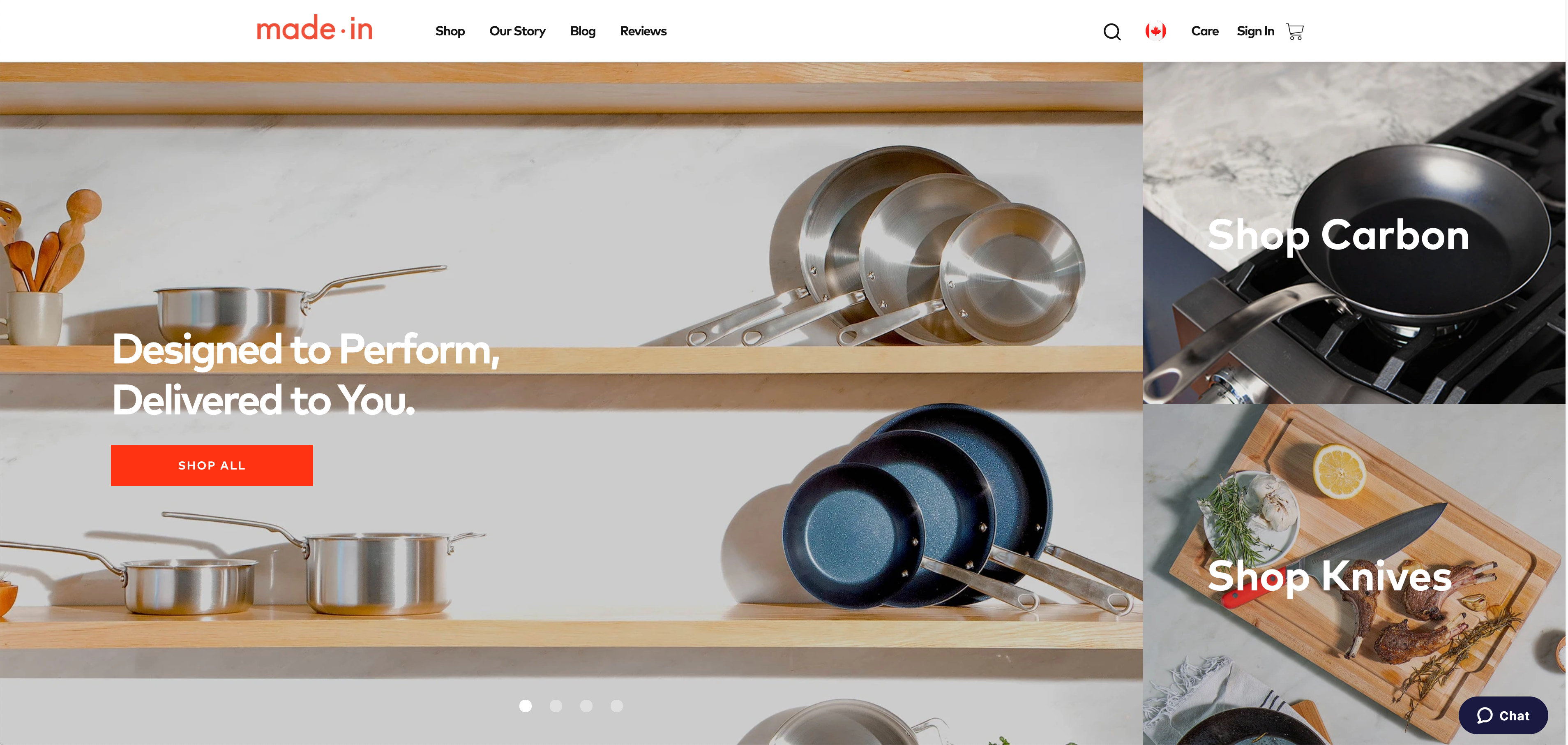 Screenshot of Made In Cookware's online store.
