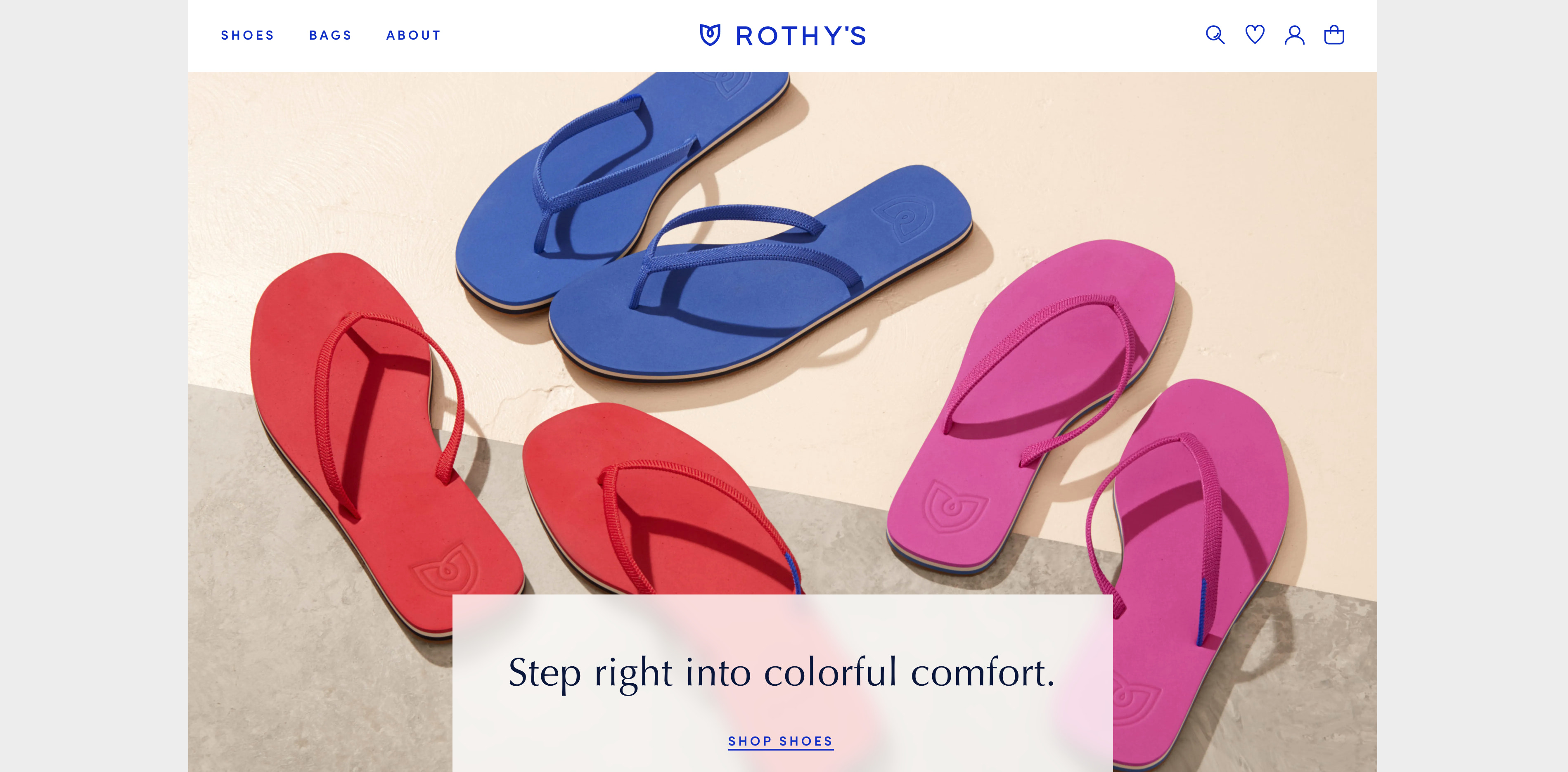 Screenshot of Rothy's online store.