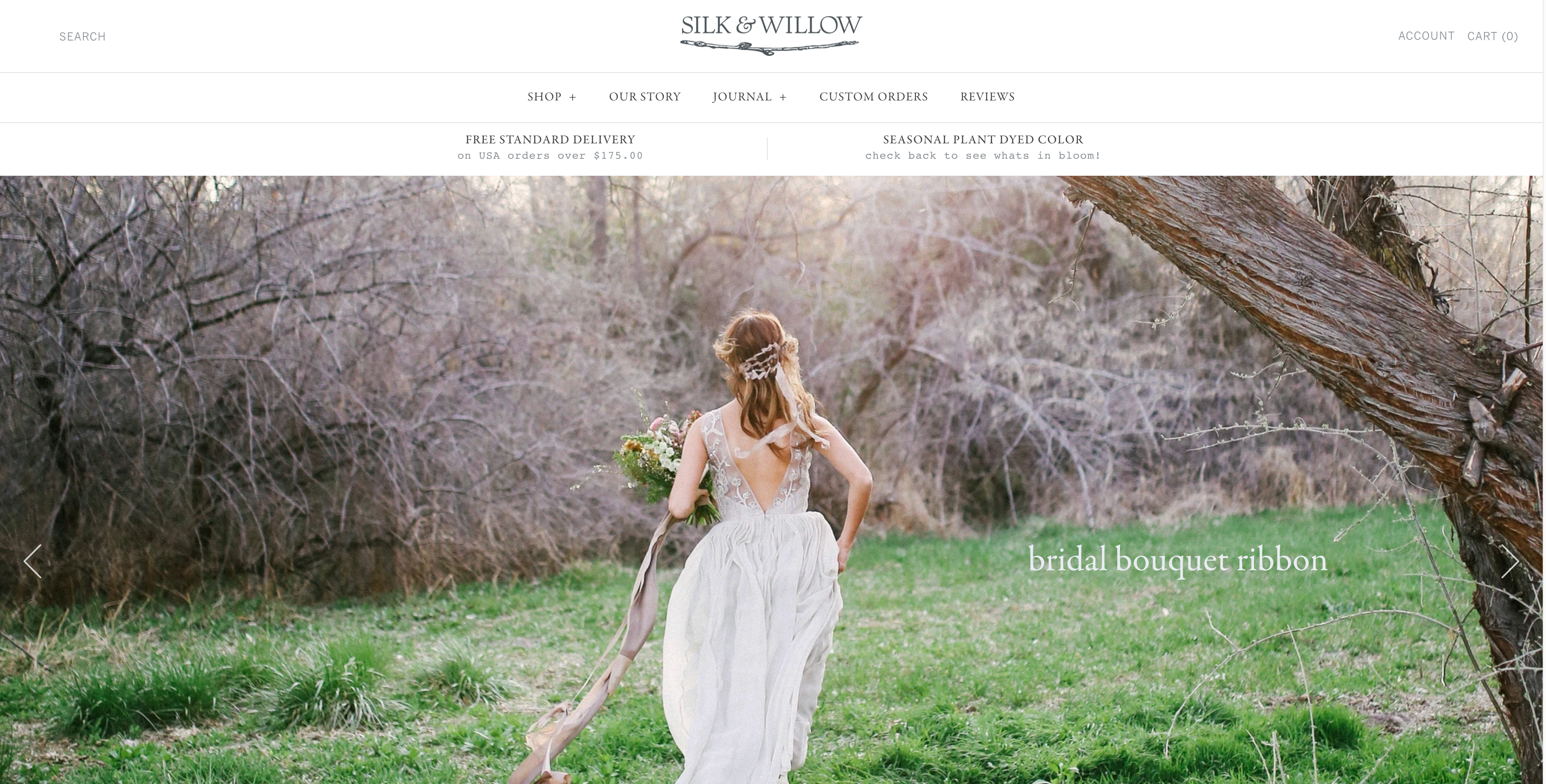 Screenshot of Silk and Willow's online store.