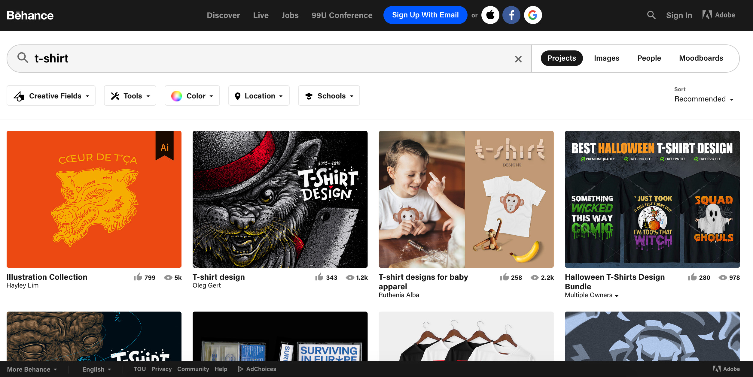 T-shirt search query in Behance