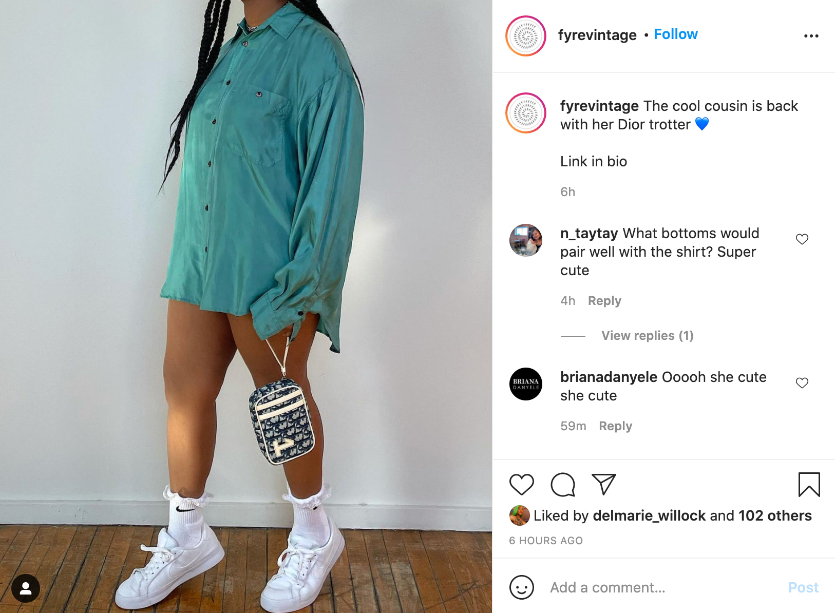 Instagram post from FYRE VINTAGE featuring a model wearing a long teal shirt