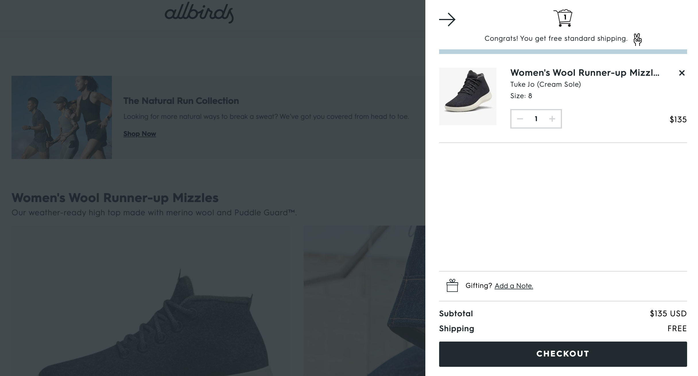 Allbirds' cart checkout message for free shipping