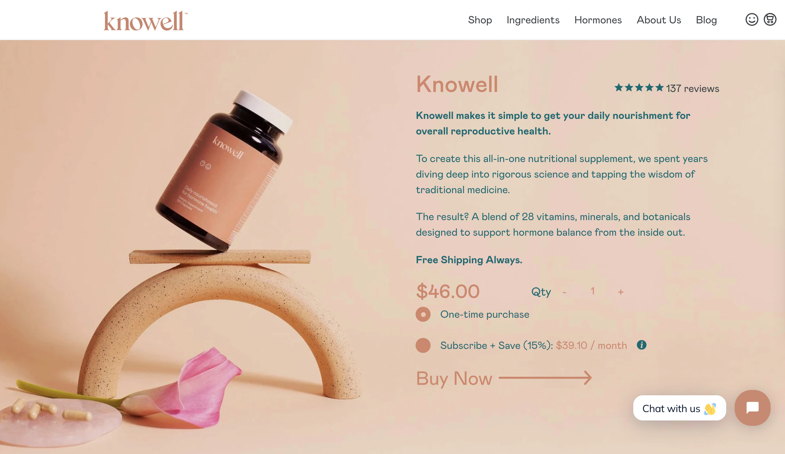 Example of a product page on Knowell's website.