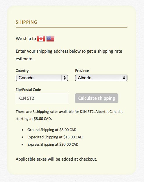New Addition to our Ajax API: Shipping Rates Calculation