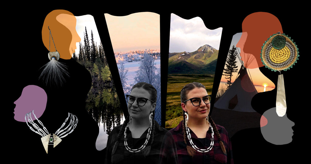 Photo collage of founder Tania Larsson. The portrait of her is pictured in both black and white and colour in the foreground, wearing a lumber jacket, glasses with her hair in braids. Behind her are a series of stock photographs of the Northwest territories in Canada, where she grew up and currently lives. The stock photographs are in the shape of an animal hide, to illustrate her respect for animals and the tanning process used in her jewellery making. In the top left and right corner are  images of her earrings and on the bottom left is one of her necklaces.