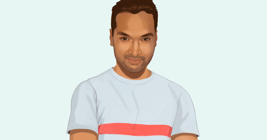Portrait illustration of Vivek Jain