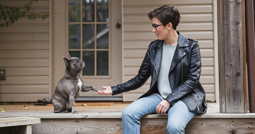 Liz Bertorelli, founder of LGBTQ apparel brand Passionfruit, and her dog