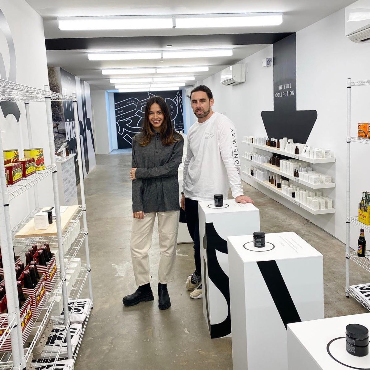 Charlie Gower and Jules Miller in the retail space of The Nue Co.