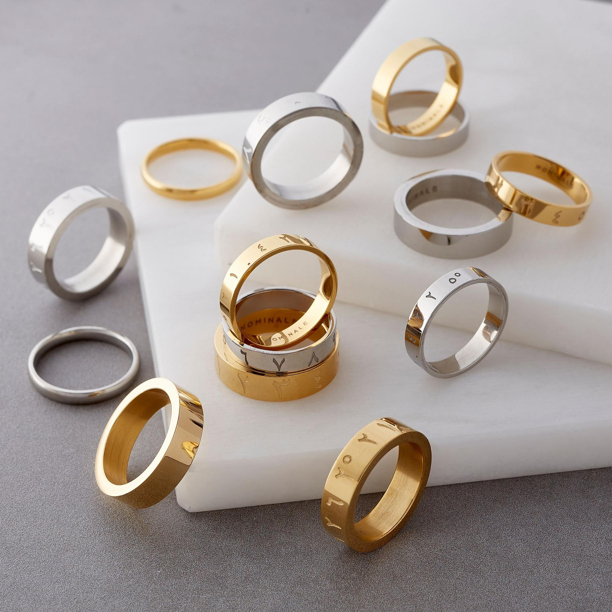A selection of rings from Nominal in gold and silver.