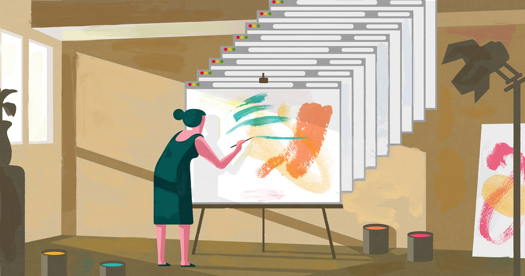 Illustration of a woman painting canvases in her studio but the canvases are new tabs opening from her computer
