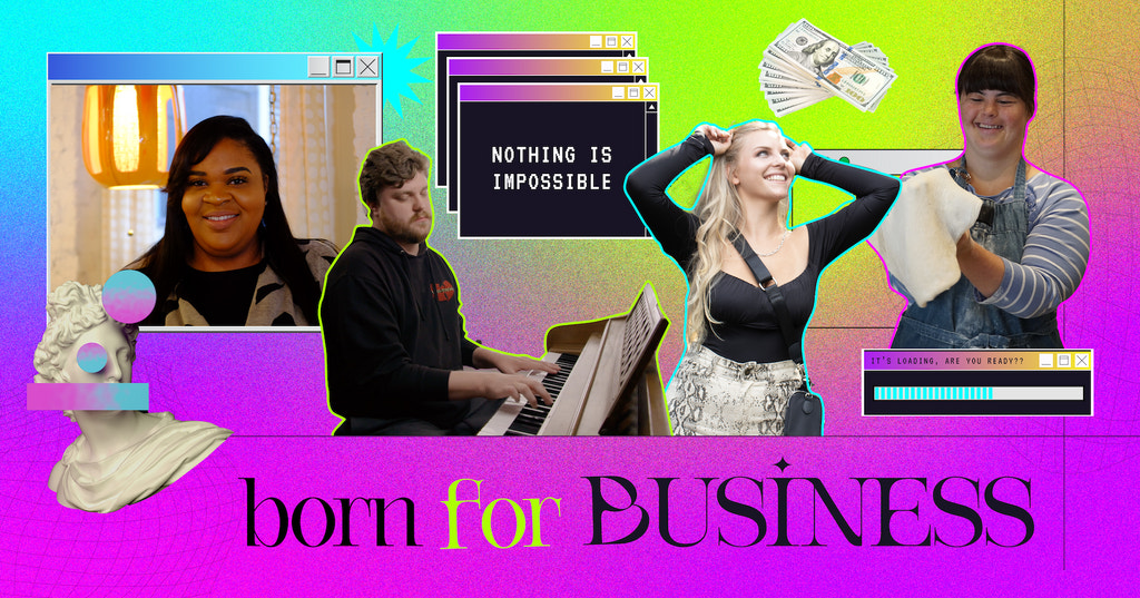 Born For Business header image featuring a collage image of the cast members
