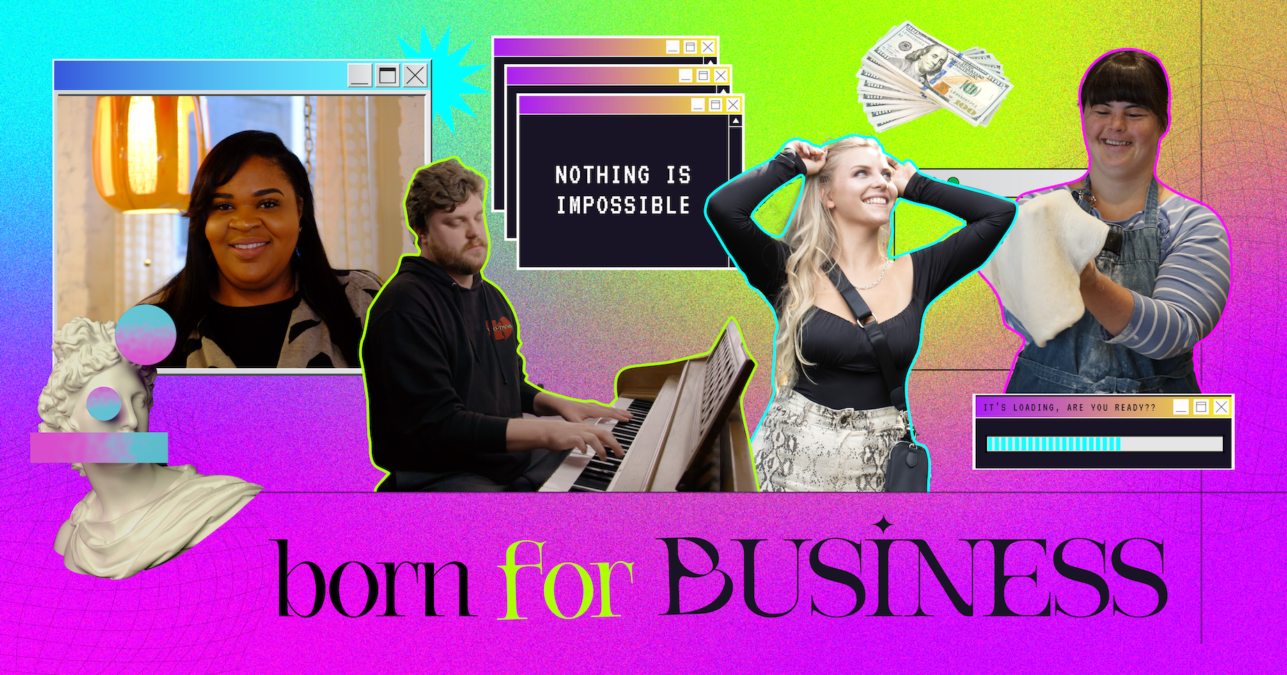Born For Business header image with collage of cast members