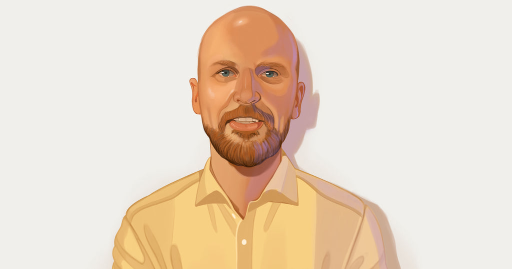 Portrait illustration of Carl Churchill, founder of Alpha Coffee, standing against a grey background in a yellow button down shirt.